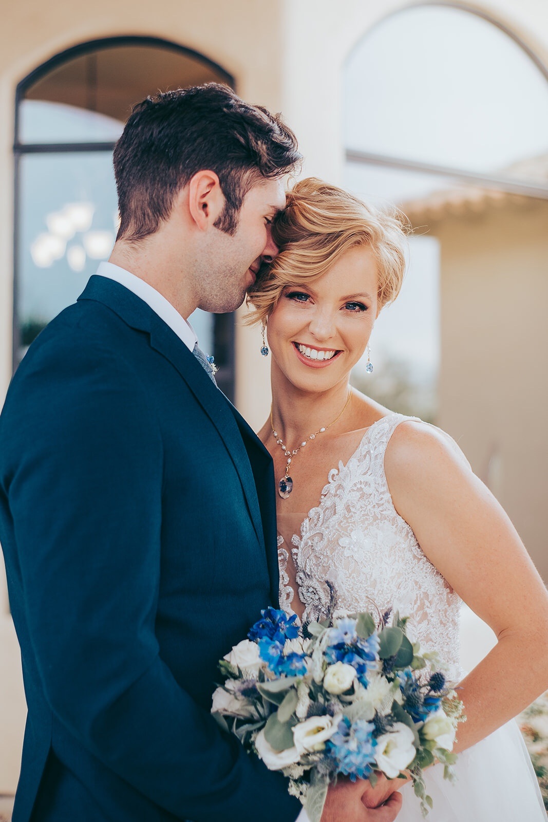Wedding couple smiling because they had a great time planning their wedding with Front Paige Events